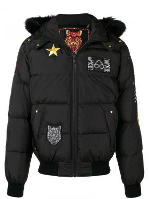 Hooded puffer jacket Moose Knuckles. Цвет: черный