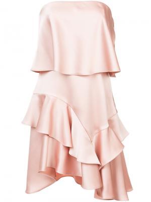 Многослойное платье с асимметричным подолом Halston Heritage. Цвет: розовый и фиолетовый