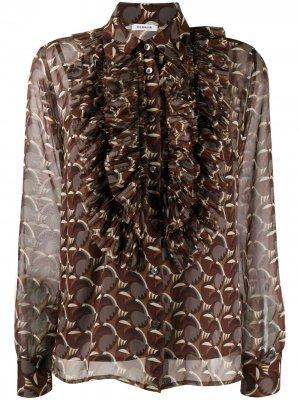Полупрозрачная блузка с геометричным принтом P.A.R.O.S.H.. Цвет: коричневый