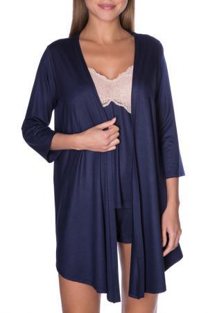 Блуза пижамная ROSE&PETAL HOMEWEAR. Цвет: темный синий