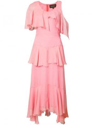 Асимметричное платье с оборками Nicole Miller. Цвет: розовый