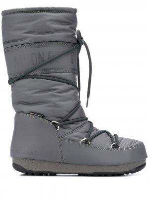 Дутые сапоги на шнуровке Moon Boot. Цвет: серый