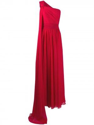 Платье на одно плечо с драпировкой Elie Saab. Цвет: красный