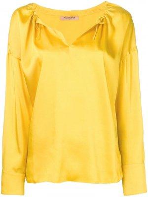 Атласная блузка Yves Salomon. Цвет: желтый
