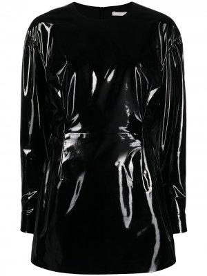 Глянцевое платье с длинными рукавами 12 STOREEZ. Цвет: черный
