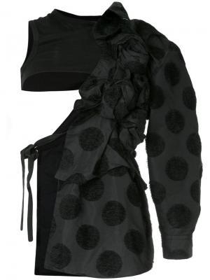 55e5fdefbb0 Асимметричное пальто в горох из флока Comme Des Garçons Vintage. Цвет   черный
