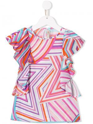 Топ с абстрактным принтом и оборками Emilio Pucci Junior. Цвет: розовый