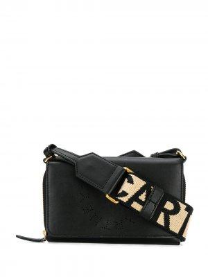 Мини-сумка через плечо с логотипом на ремне Stella McCartney. Цвет: черный