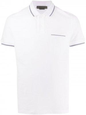 Рубашка поло с карманом и контрастной отделкой Corneliani. Цвет: белый