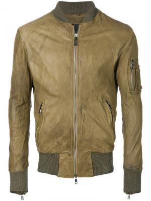 Кожаная куртка на молнии Giorgio Brato. Цвет: коричневый