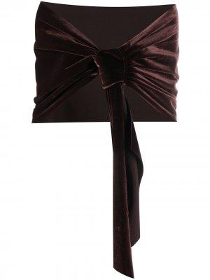 Бархатный шарф Eva Le Petite Robe Di Chiara Boni. Цвет: коричневый