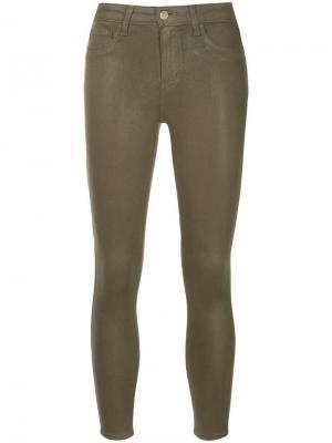 Укороченные брюки кроя слим L'agence. Цвет: коричневый