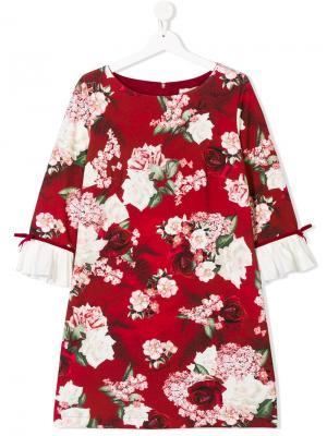 Платье с цветочным принтом Monnalisa. Цвет: красный