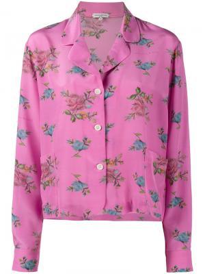 Пижамный топ с цветочным принтом Natasha Zinko. Цвет: розовый и фиолетовый