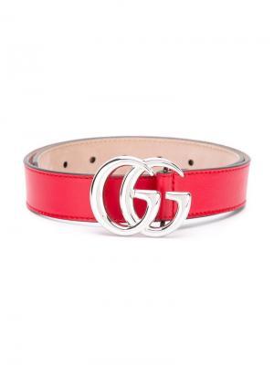 Ремень с логотипом Gucci Kids. Цвет: красный