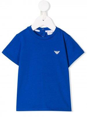Футболка с принтом логотипа Emporio Armani Kids. Цвет: синий