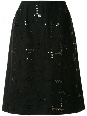 Юбка с логотипами Chanel Vintage. Цвет: черный