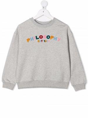 Толстовка с круглым вырезом и вышитым логотипом Philosophy Di Lorenzo Serafini Kids. Цвет: серый