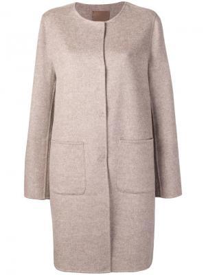 Однобортное пальто без воротника Liska. Цвет: нейтральные цвета