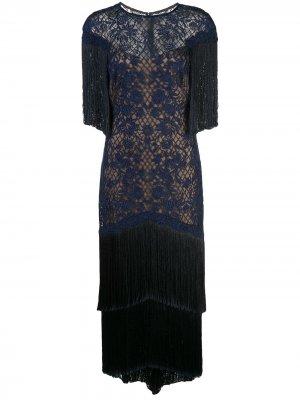 Вечернее платье с бахромой Tadashi Shoji. Цвет: синий