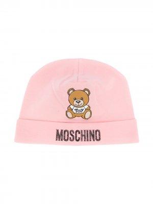 Шапка бини Teddy с логотипом Moschino Kids. Цвет: розовый