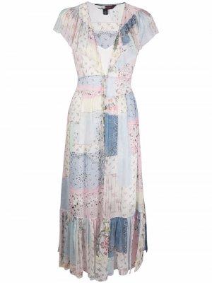Silk Floral Patchwork Midi Dress Hilfiger Collection. Цвет: синий