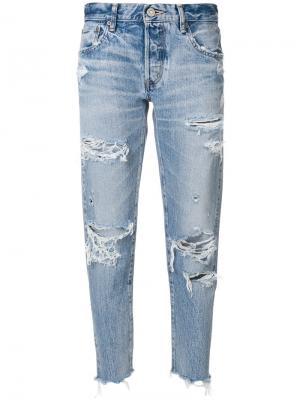 Зауженные джинсы с декоративными дырами Moussy Vintage. Цвет: синий