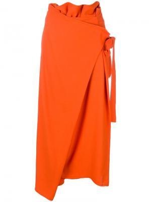 Укороченные брюки с запахом I'M Isola Marras. Цвет: оранжевый