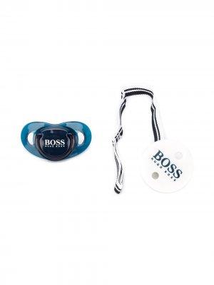 Подарочный набор из пустышки и держателя BOSS Kidswear. Цвет: синий