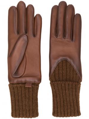 Вязаные перчатки Agnelle. Цвет: коричневый