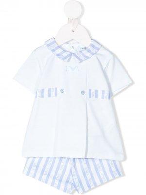 Комплект из топа и шорт в полоску Emporio Armani Kids. Цвет: белый