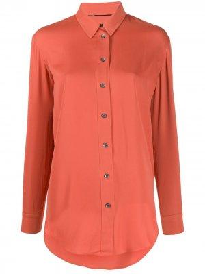 Однотонная рубашка с длинными рукавами Calvin Klein. Цвет: оранжевый