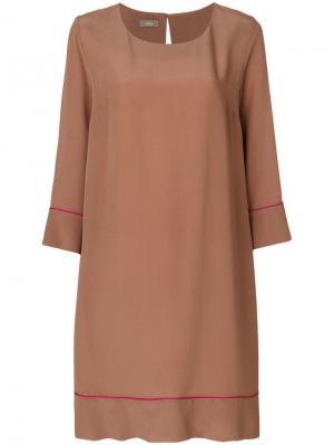 Платье с контрастной окантовкой Altea. Цвет: коричневый