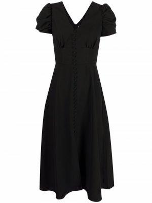 Платье с присборенными рукавами Saloni. Цвет: черный