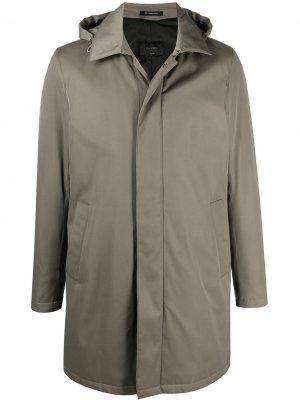 Delloglio однобортное пальто с капюшоном Dell'oglio. Цвет: зеленый