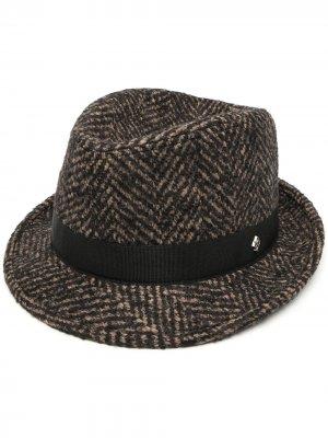 Шляпа Chris с узором в елочку Tagliatore. Цвет: коричневый