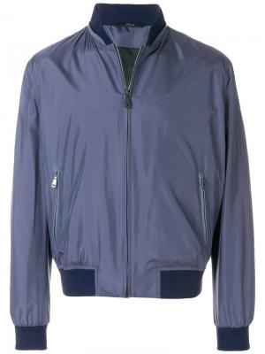 Куртка-бомбер с высоким воротником Brioni. Цвет: синий
