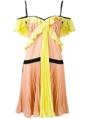 Плиссированное платье из жоржета Marco Bologna. Цвет: разноцветный