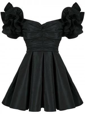 Платье с открытыми плечами и оборками Elisabetta Franchi. Цвет: черный
