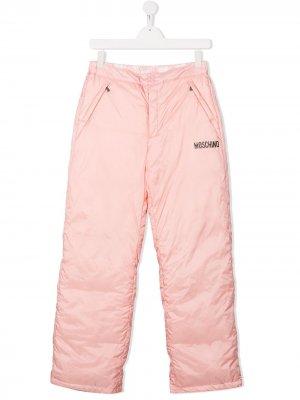 Лыжные брюки с логотипом Moschino Kids. Цвет: розовый