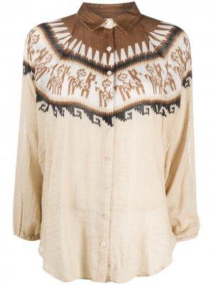 Рубашка с геометричным принтом Mes Demoiselles. Цвет: нейтральные цвета