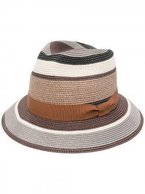 Шляпа-трилби в полоску PAUL SMITH. Цвет: коричневый