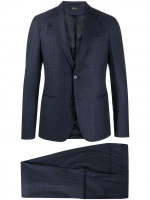 Клетчатый костюм с однобортным пиджаком Z Zegna. Цвет: синий