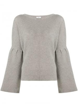 Ribbed knit round neck sweater Allude. Цвет: серый