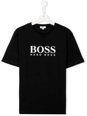 Футболка с логотипом BOSS Kidswear. Цвет: черный