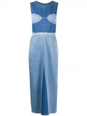 Приталенное джинсовое платье миди MM6 Maison Margiela. Цвет: синий