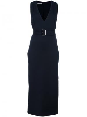 Платье с глубоким V-образным вырезом и поясом Lucio Vanotti. Цвет: синий