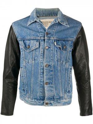 Джинсовая куртка с кожаными вставками GALLERY DEPT.. Цвет: синий
