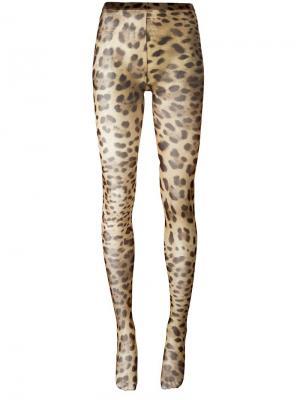 Колготки с леопардовым узором Dolce & Gabbana. Цвет: нейтральные цвета
