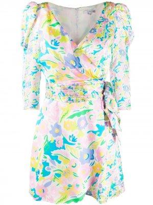 Платье с запахом и цветочным принтом Olivia Rubin. Цвет: розовый